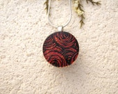 Red Rose Necklace, Dichroic Jewelry, Snap & Change Necklace, Fused Glass Jewelry, Dichroic Pendant, Silver Chain, Nickel Free,  020816p100