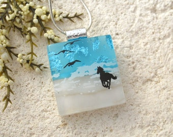 Petite Horse Necklace, Dichroic Necklace, Equestrian, Dichroic Jewelry, Fused Glass Jewelry,Dichroic Pendant, Chain Included, 010916p102