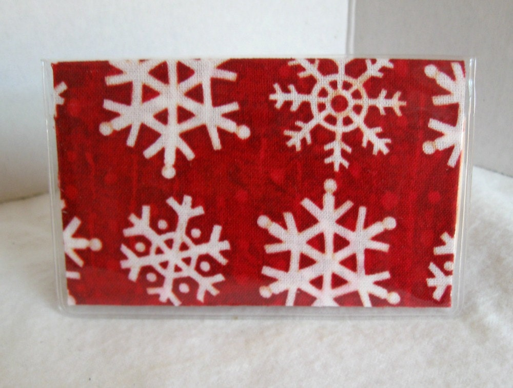 Snowflake Business Card Holder - Snowflakes on RED - Snow Biz Card ...