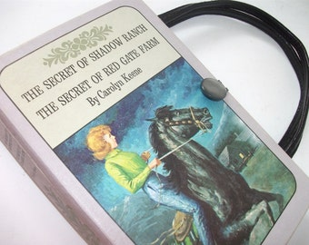 Book  Purse Nancy Drew Secret of Shadow Ranch and Red Gate Farm Handbag Upcycled Book Bag