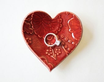 Clay Heart Ring Dish, Red Pottery, Flower Print, Earthy Red