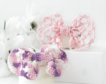 "Hair Bows Pink & Purple Crochet Lace Bow Tie Hair Clips for Girls, Teens, Women, 3"" Hair Bow Accessory Set"