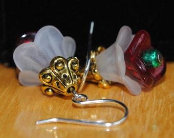 Earrings, Flower Earrings, Dangle Earrings, Red, Green, White, Gold, Christmas Earrings, Holiday Earrings, Gold Earrings