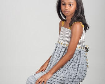 Girls' Maxi Dress Ruffle Dress - Striped Bodice with  Long Grey Ruffle Skirt & Ribbon Trim - Girls' Sizes 6, 7, 8 - Flower Girl Dress