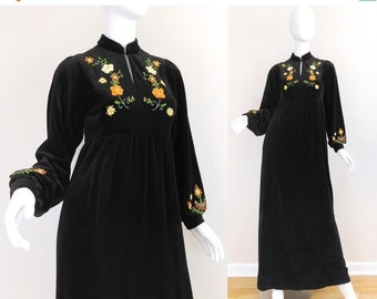 SALE Sz 4 60s Embroidered Black Velour Maxi Dress - Vintage Women's Boho Gypsy Hippie Empire Waist Bishop Sleeve Long Floral Accent Dress