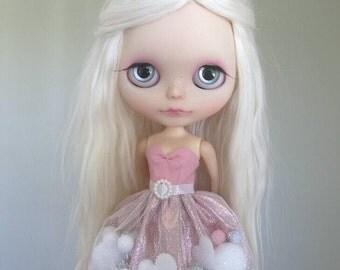 Be My Valentine pom-pom dress for Blythe and Pullip
