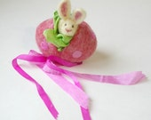 Hollow Wool Easter Egg with Bunny : Sweet Something in 'Bespotted' (Silk and Wool Surprise Easter Egg)