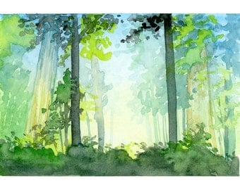 """Forest Glow Watercolor Art Print Wall Decor 5""""x7"""", 8""""x10"""", and 11""""x14"""""""