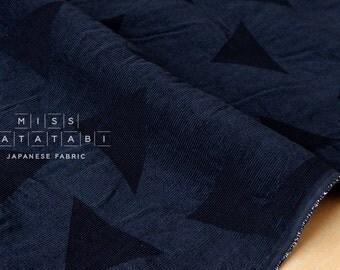 Japanese Fabric Kokka Tsumiki Enshuku Corduroy triangles - navy blue - 50cm