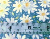 One Yard Cut Quilt Fabric, Small White Daisies, Yellow Centers on Blue from Fabric Traditiions, Sewing, Crafting and Quilting Supplies