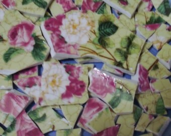 Spring Time - Shades of Pink Roses - Mosaic Tile Pieces - Pea Green background -Writing- Broken Plate- Mosaic Pieces