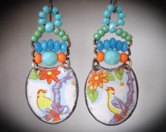 Handmade Earrings.Tin Earrings. Repurposed Tin Earrings. Bohemian Gypsy Earrings. Dangle Earrings.