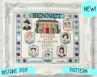 Bennet Family Sampler Cross Stitch Pattern - Perfect for Pride and Prejudice and Jane Austen Lovers