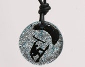 Kiteboarding Surfer Necklace Kitesurfing jewelry round dichroic glass silver pendant by Zulasurfing