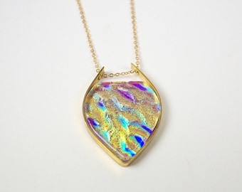 Dichroic glass pendant Hand carved mix colors dichroic necklace by zulasurfing
