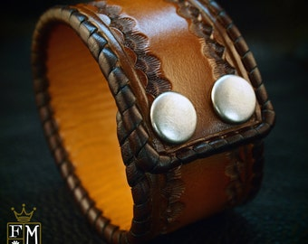 Leather cuff bracelet Custom Brown Tan sunburst Hand stamped and Laced Made for YOU in NYC by Freddie Matara