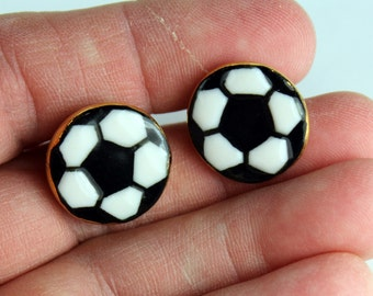 Soccer Ball Earrings Porcelain Clay Studs