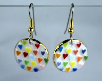 Heart Earrings Dandle Colorful Handmade Porcelain Ceramic Clay Jewelry