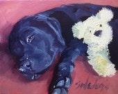 original art,dog art,Me And My Pal,black Labrador ,Retriever,oil,paintings