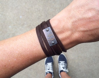 I LOVE YOU Morse code bracelet | leather wrap bracelet | brass | copper | gift for him or her