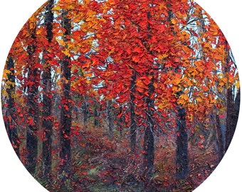 "Glass Cutting Board with Red Trees from an Original Oil Painting - 12"" Round"