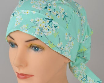 LARGE Surgical Scrub Cap - Perfect Fit Tie Back with FABRIC TIES - Cotton Blossom