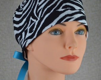 Scrub Hat or Chemo Cap- The Mini with Ribbon Ties- Zebra