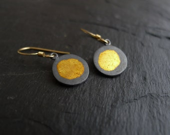 Golden Treasure Kumboo Earrings  in Sterling Silver, 24 Karat Gold and Gold Filled
