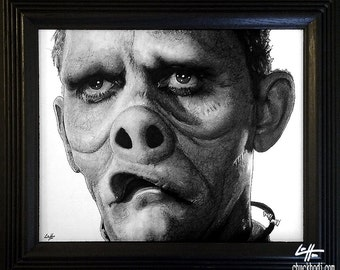 Eye Of The Beholder - Original Drawing - The Twilight Zone Rod Serling Pig Face Doctor Nurse Dark Art Horror Surreal Fantasy Vintage Pop Art