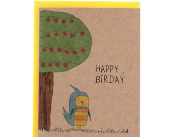 Cute Happy Birthday Birdy Greeting Card