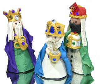 Christmas Shop Three Kings Bells Ornament set hand sculpted Holiday Decor