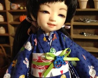 Playful Bunnies Kimono and obi for 1/6th 26cm YOSD BJD