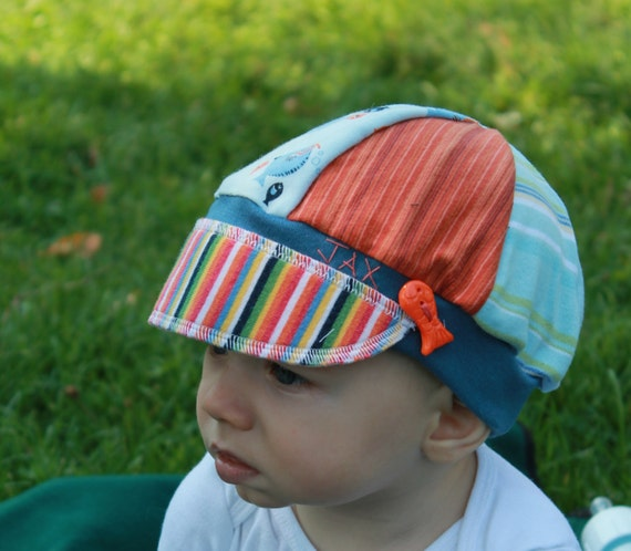Toddler jax hat recycled t shirt hat fishies hat 6 to 18 for Toddler fishing hat