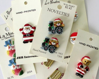 Christmas Buttons - Carded Buttons -  Novelty Buttons - New Buttons - Scrapbooking - Scrapbook Buttons - Button Collection - Sewing