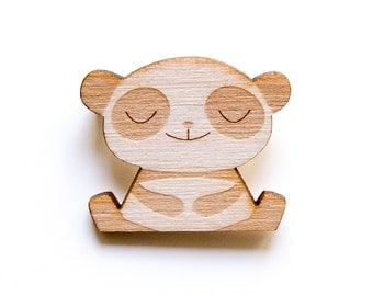 Happy Panda - Wooden Badge / Pin / Brooch