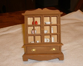 Lot of THREE miniature wooden hutches (doll house, crafting or knick knack)