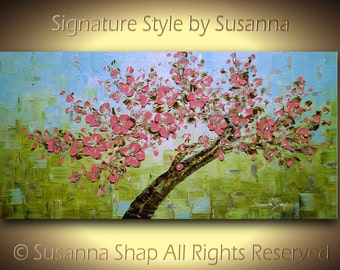 Original Abstract Tree Landscape Painting Cherry Blossom Modern Palette Knife Impasto Texture Large Wall Art Pink Green by Susanna