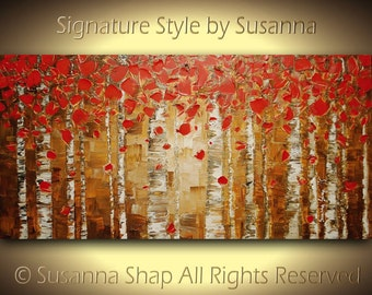 Abstract ORIGINAL painting landscape oil painting birch tree aspen art woodlands palette knife impasto painting canvas made2order susanna