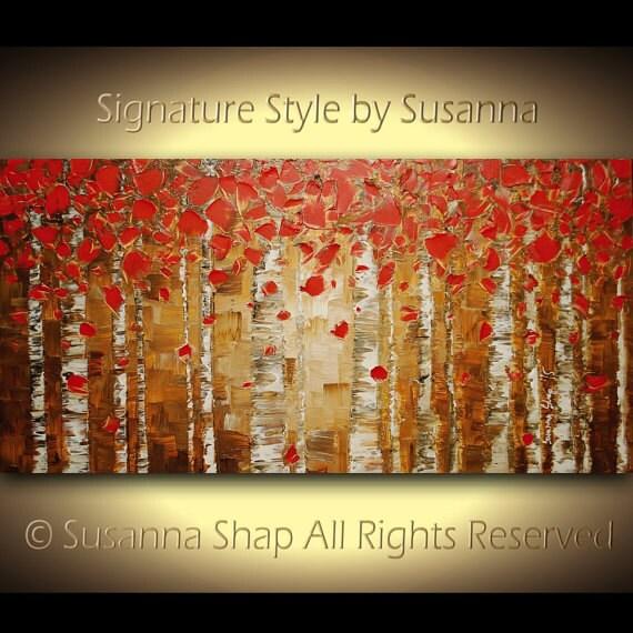 ORIGINAL brown red birch tree landscape oil painting aspen art woodlands forest palette knife impasto landscape painting made2order susanna