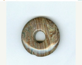 BLOWOUT SALE 35mm Brown Stripe Gemstone PI Donut Pendant 876