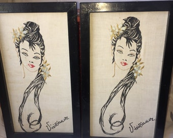 Vintage Wall Art Elegant Woman Crewel
