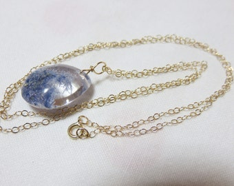 SALE 20% CODE:SALE2016  Rare Natural Clear Beautiful Polished Blue Dumortierite Crystal (13ct), and 14K Solid Yellow Gold Necklace