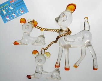 Vintage DEER Crystal Pet Family (new old stock!)