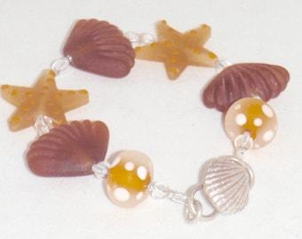 Beach Bracelet Starfish Amber Gold Seashell Bracelet