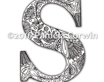 S Monogram Coloring Page