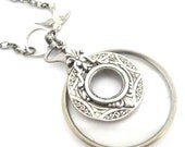 Monocle ...  Silver  Steampunk Victorian Monocle Sparrow  Necklace One of a Kind