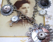 1800s BUTTON necklace, 6 Victorian mother-of-pearl buttons on silver. Antique button jewellery.
