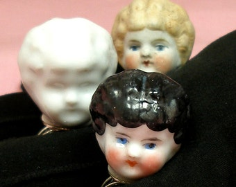 Frozen Charlotte DOLL ring, Antique Victorian head on sterling silver, Black haired doll only.