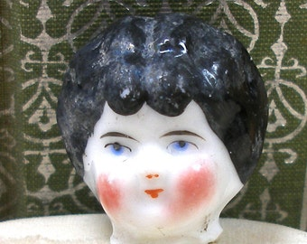 Frozen Charlotte DOLL ring, Victorian china doll head on sterling silver, Black haired doll.