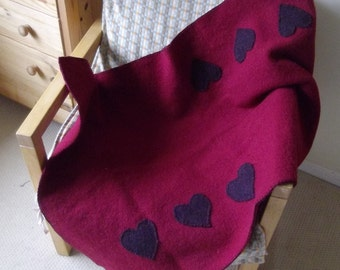 Lap Blanket/Throw- Pure felted wool with fair-isle detail